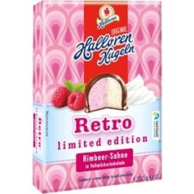 Halloren Kugeln Himbeer-Sahne aveņu-krēma pildījuma konfektes piena šokolādē 125g