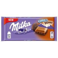 Milka Oreo Brownie piena šokolāde ar kakao krēma pildījumu un kakao cepumu gabaliņiem 100g
