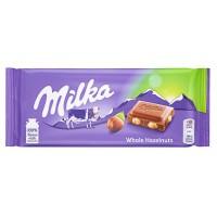 Milka Whole Hazelnuts piena šokolāde ar veseliem lazdu riekstiem 100g